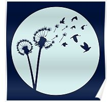 Dandelion Bird Flight Poster