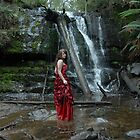 waterfall in red dress by Yvonne Segda