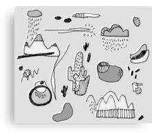 Cactus Mountain black&white Canvas Print