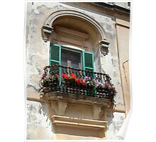 Green Wooden Shutters on Pretty Ornate Iron Flower Balcony Poster