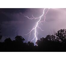 Staccato Lightning west of Warwick Photographic Print