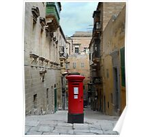 Traditional Red Post Box in Narrow Street in Malta Poster