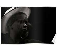 girl in a white hat Poster