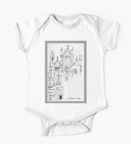 Italy- An early Pen and Ink of the Cathedral Facade in Siena One Piece - Short Sleeve
