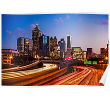 Atlanta Skyline at Night Poster