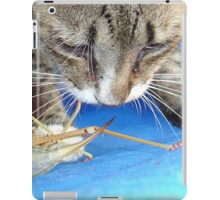 Close Up of A Tabby Cat and Katydid iPad Case/Skin