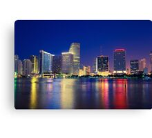 Miami Skyline at Night Canvas Print