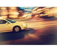 Taxi driving in the city Photographic Print