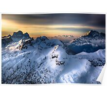 Mountain landscape in Winter Poster