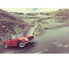 Retro car driving in the mountain Photographic Print