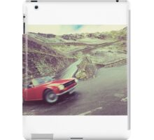 Retro car driving in the mountain iPad Case/Skin