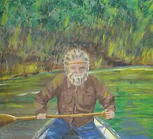 Oil Painting of Griz on River...Voyager Style by MaeBelle