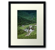 Man made waterfall in exotic tea plantation Framed Print