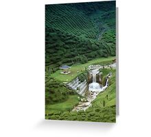 Man made waterfall in exotic tea plantation Greeting Card