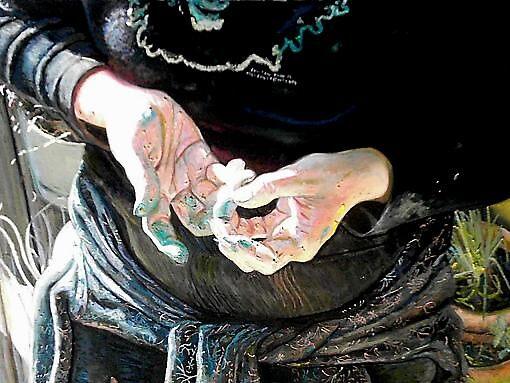 Self Portrait With Pastel by Cameron Hampton