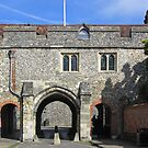 Kingsgate, with St-Swithun-Upon-Kingsgate above, WInchester, southern England by Philip Mitchell