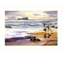 At the Beach Dave my Son and My Daughter Gwen. Art Print