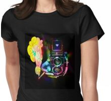 psychedelic vintage film camera Womens Fitted T-Shirt