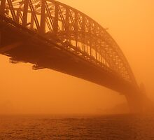 Red Dust Storm - Sydney Bridge by Mal Wood