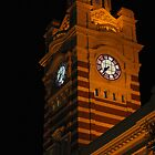 Flinders Station at night by Kate Kohaly
