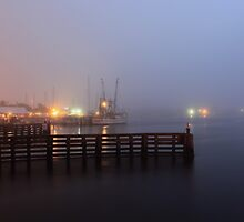 Fog in the harbor by kathy s gillentine