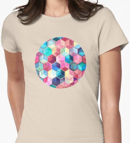 Topaz & Ruby Crystal Honeycomb Cubes Womens Fitted T-Shirt