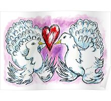 Doves and Heart Poster
