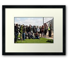 Press in Queen Elizabeth Olympic park Framed Print