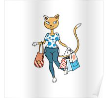 Cat on shopping. Poster