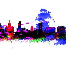 Watercolor art print of the skyline of Liverpool by jackelstub