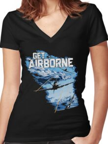 World Of Warplanes - Get Airborne Women's Fitted V-Neck T-Shirt