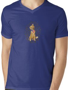 Patriotic Pup With Flag Bandanna Mens V-Neck T-Shirt