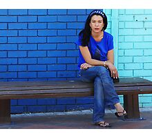 Blue Girl in a blue world Photographic Print