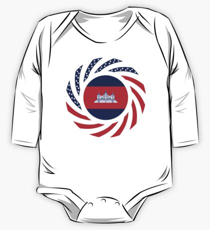 Cambodian American Multinational Patriot Flag One Piece - Long Sleeve