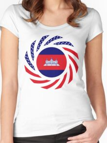 Cambodian American Multinational Patriot Flag Women's Fitted Scoop T-Shirt