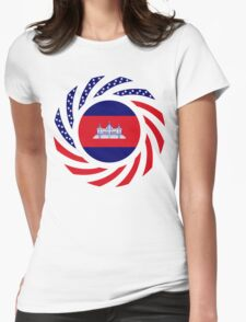 Cambodian American Multinational Patriot Flag Womens Fitted T-Shirt