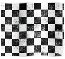 Black and White Checkered Printed Items Poster