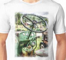 Vintage Green Tractor Steering Wheel Unisex T-Shirt