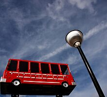 Big red bus by Mark  Coward