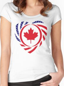 Canadian American Multinational Patriot Flag Series 2.0 Women's Fitted Scoop T-Shirt