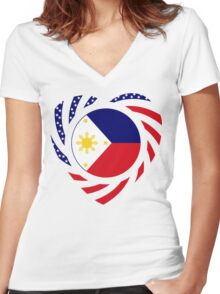 Filipino American Multinational Patriot Flag Series 2.0 Women's Fitted V-Neck T-Shirt