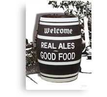 beer barrel real ales good food slogan Canvas Print