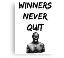 Bodybuilding shirt - Winners never quit Canvas Print