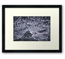 Iwo Jima Memorial Sunrise Cyanotype Framed Print