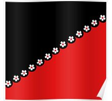 White Flowers on Black and Red Poster