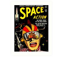 Retro Comic Cover - SPACE ACTION - Vintage Sci-fi cover Art Print
