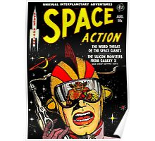 Retro Comic Cover - SPACE ACTION - Vintage Sci-fi cover Poster