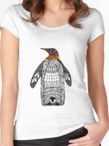 Zentangle Penguin Women's Fitted Scoop T-Shirt