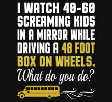 I Watch 40-60 Screaming Kids In A Mirror While Driving A 40 Foot Box On Wheels. Waht Do You Do? - Custom Tshirt by custom333