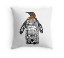 Zentangle Penguin Throw Pillow